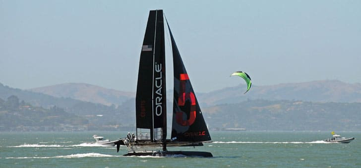 AC 45 and a Kite Sailor in San Francisco Bay