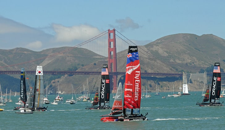 AC45s racing with the Golden Gate Bridge in the Background