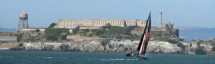Alcatraz and an AC45 America's Cup Sailboat