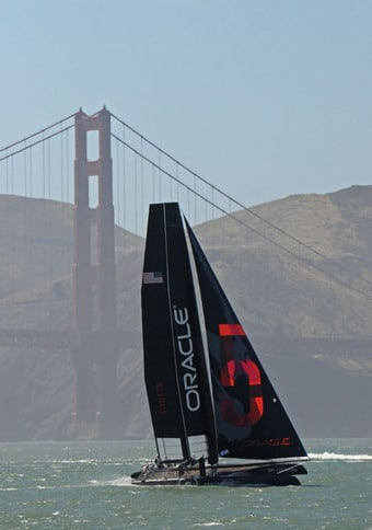 America's Cup AC45 at the Golden Gate Bridge