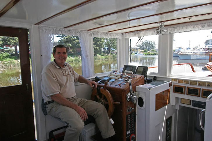 At the Helm of a Stephens Motoryacht