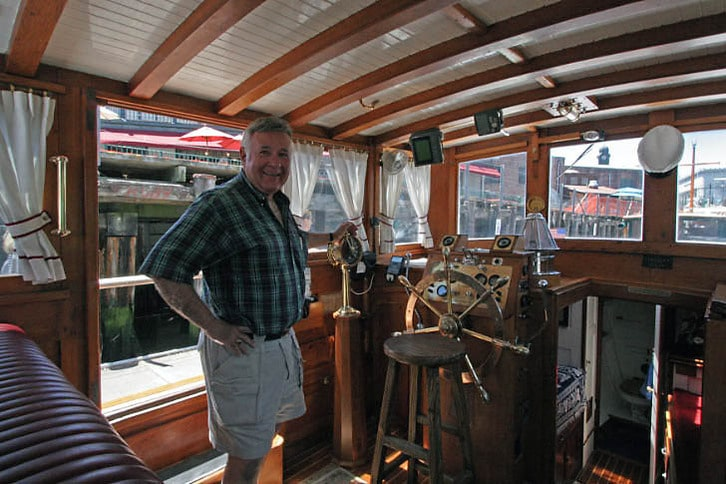 At the Helm of a Stephens Yacht