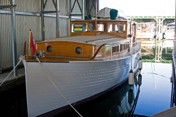 Classic Yacht in a Covered Slip at Napa Valley Marina