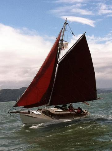 Classic gaff-rigged sloop Mercy under sail