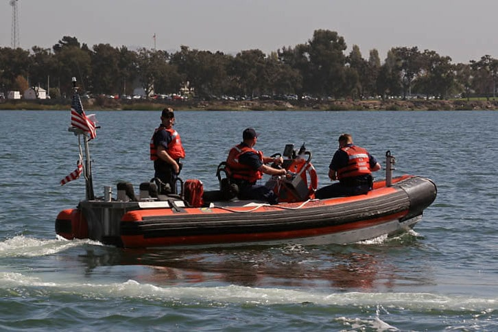 Coast Guard Team Boarding Boats in the Oakland Estuary