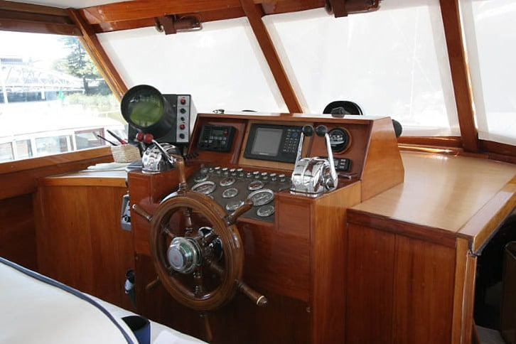 Cockpit of a Stephens Motoryacht