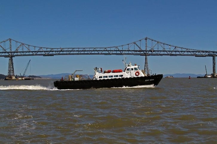 Crew Boat Supporting Bridge Work