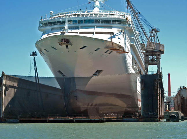 Cruise Ship in Drydock Front View