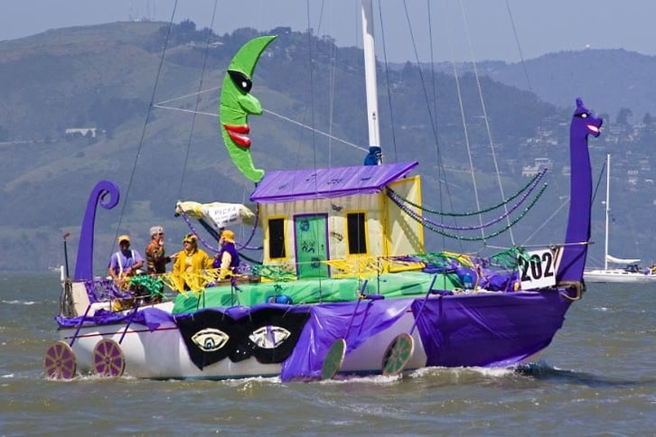 Decorated Sailboat in Opening Day Parade