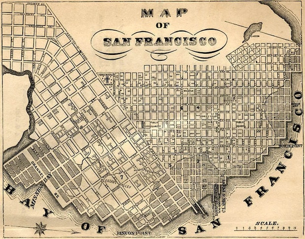 Early Map of San Francisco 1855