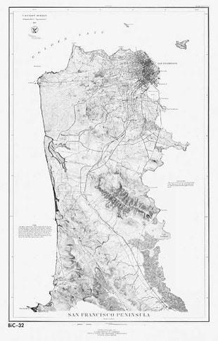 Early Map of San Francisco Peninsula