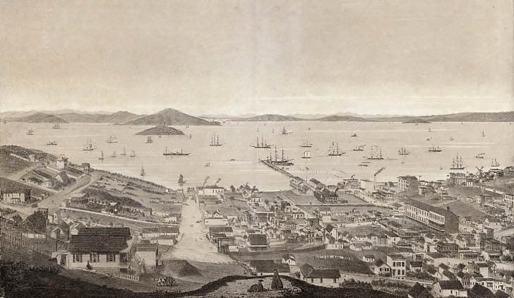 Early View North from Russian Hill to Alcatraz and Angel Island