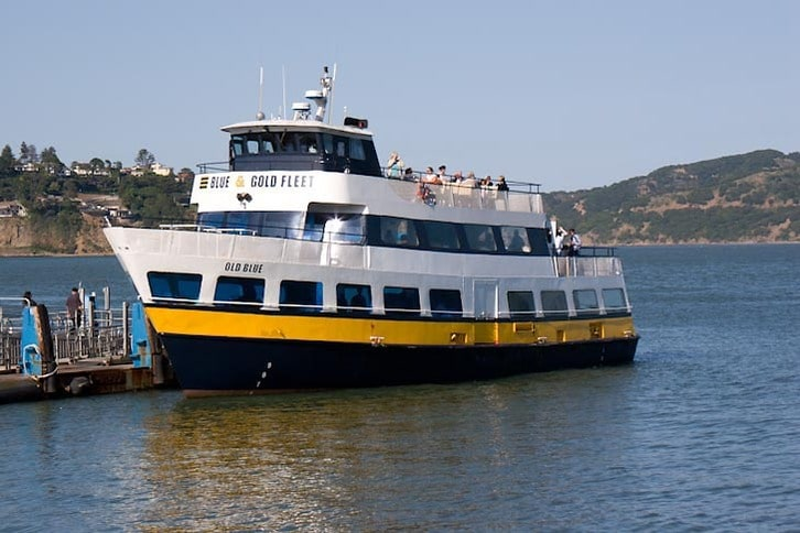 Ferry at the Sausalito Dock Blue Gold Fleet Old Blue