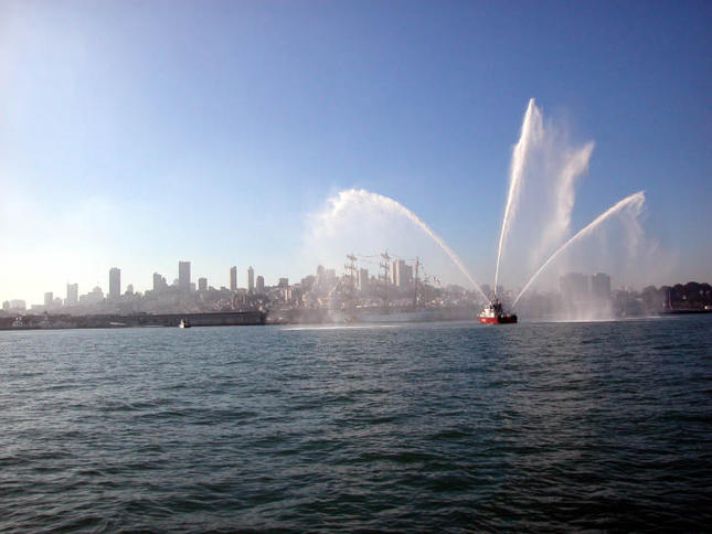 Fireboat Spraying Water