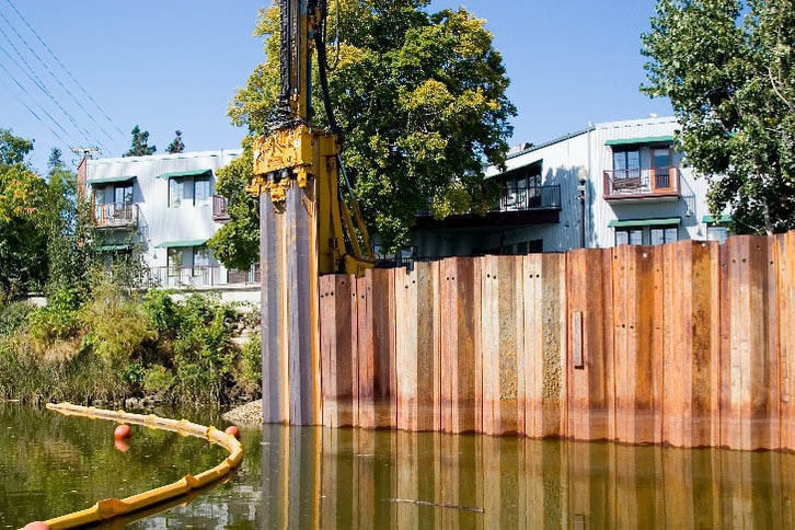 Floodwall Construction in Downtown Napa 2