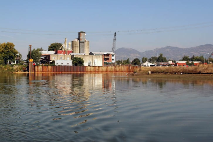 Floodwall Construction in Downtown Napa