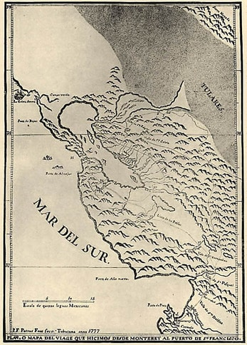 Font's Map of the Entrance to San Francisco Bay 1912