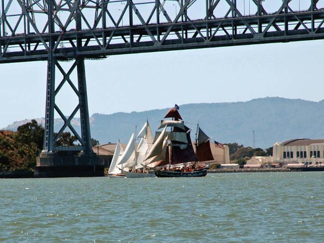 Hawaiian Chieftain Races Under the Bay Bridge