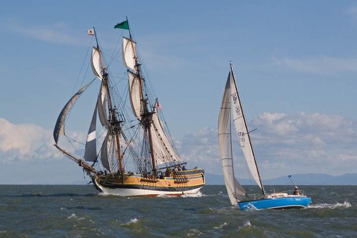 Lady Washington Sailing Alongside a Modern Sloop