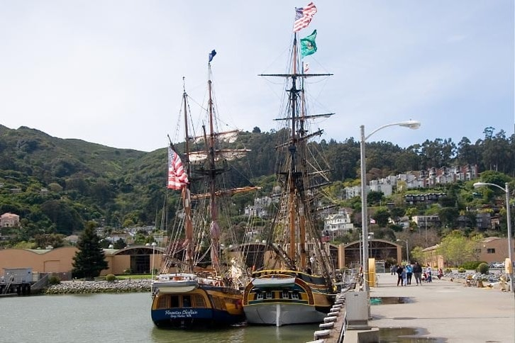 Lady Washington and Hawaiian Chieftain Docked