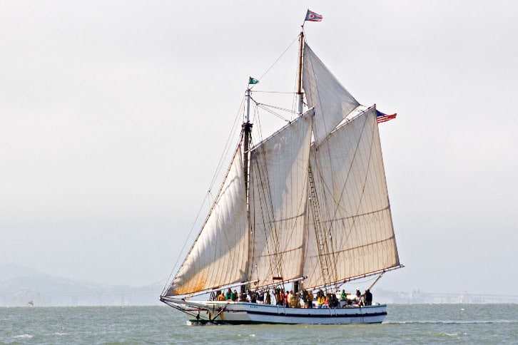 Large Sailboat With Many People