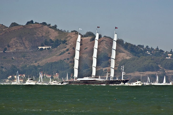 Maltese Falcon Cruises Into the Bay