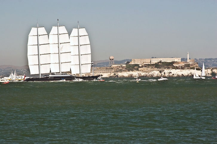 Maltese Falcon Cruises Past Alcatraz Island