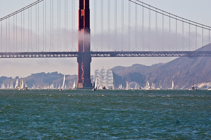 Maltese Falcon Enters the Golden Gate