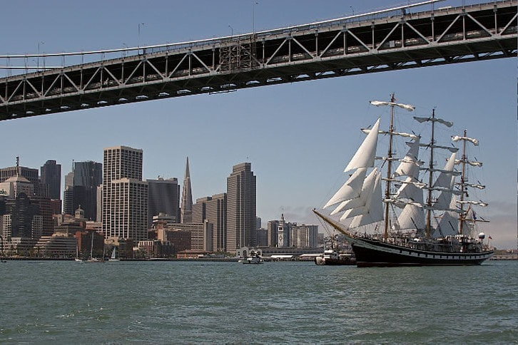 Pallada Sailing Under the Bay Bridge