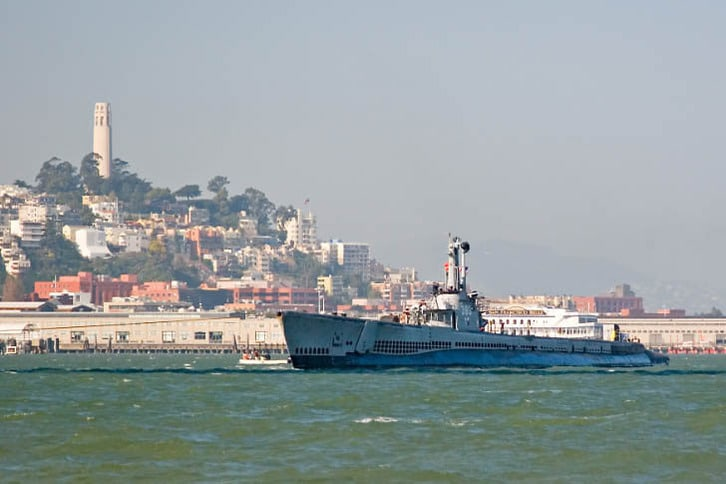 Pampanito Being Towed Past Coit Tower