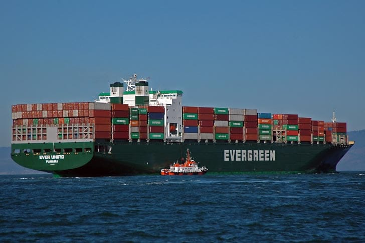 Pilot Boarding Evergreen Container Ship