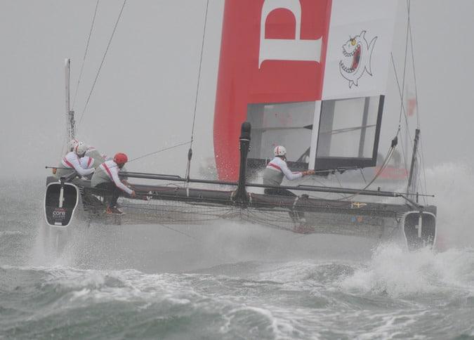 Prada Sails Off into a Grey Wet Day