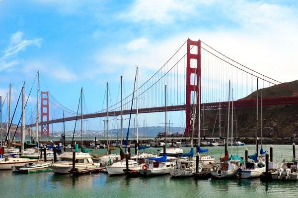 Presidio yacht harbor with the Golden Gate Bridge
