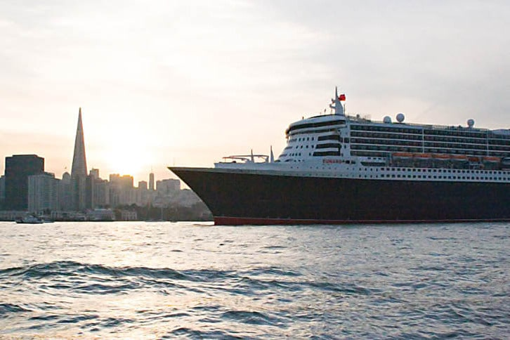 Queen Mary 2 Off San Francisco at Sunset