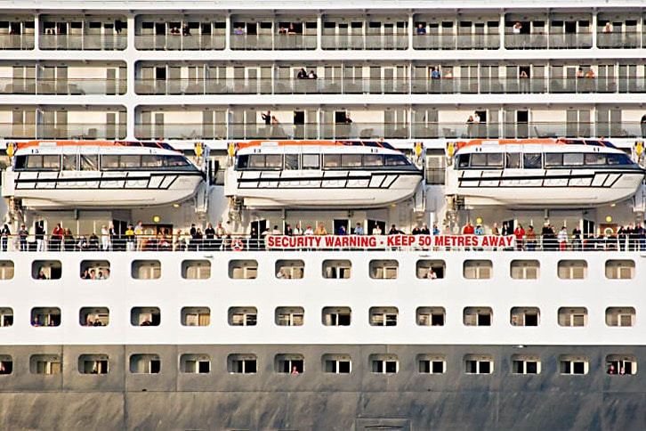 Queen Mary 2 Passengers Close Up