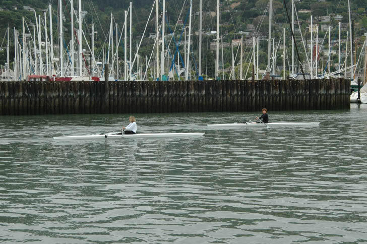 Rowing Past Sausalito Yacht Harbor