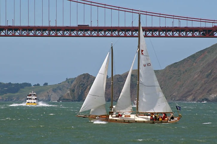 Sailboat Near Golden Gate Bridge