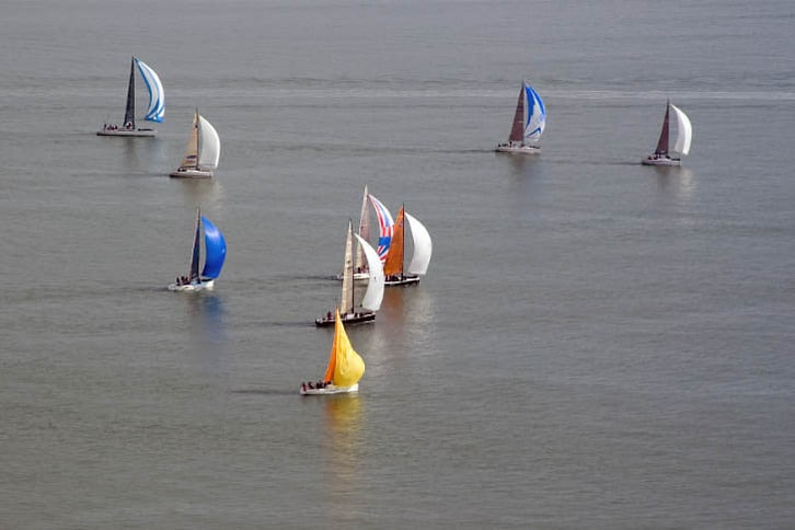 Sailboats Racing in Racoon Strait