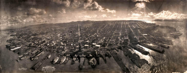 San Francisco in Ruins from Lawrence Captive Airship