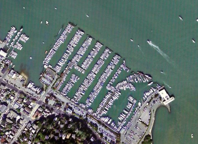 Sausalito and Pelican Yacht Harbors Aerial