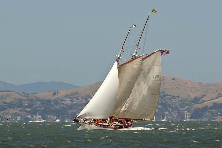 Schooner 'Brigadoon' Charging Across the Bay