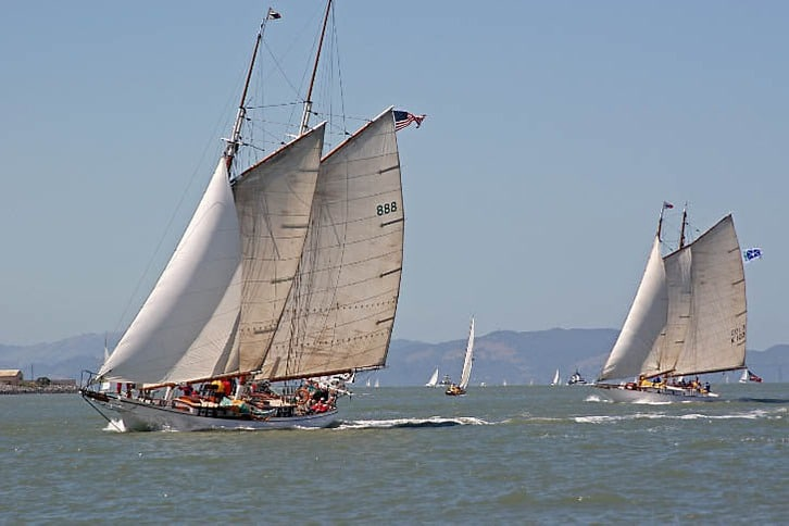 Schooner 'Brigadoon' Leads 'Yankee' at the Finish Line