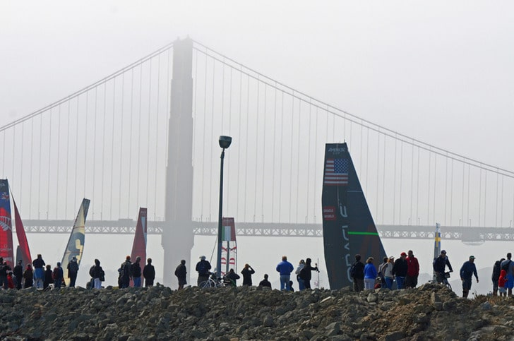 Spectators and Sails at America's Cup World Series SF