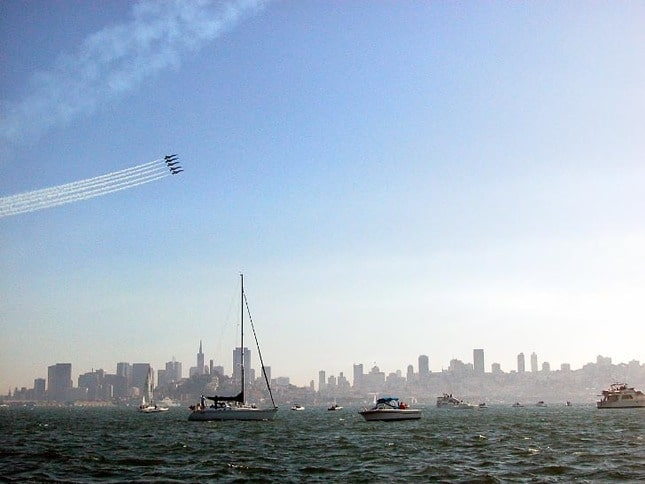 The Blue Angels streaking over San Francisco