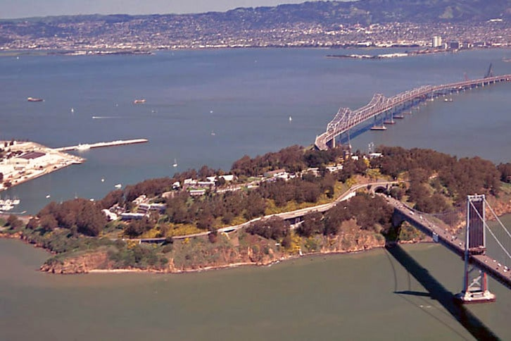 Aerial image of Treasure Island and Clipper Cove in San Francisio Bay
