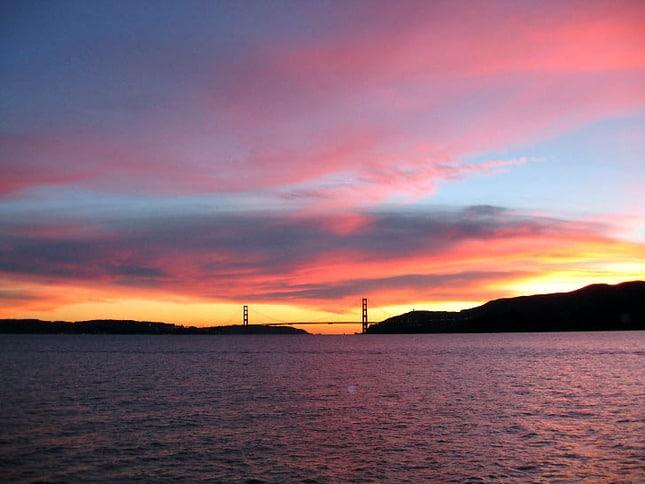 Turning the Bay Pink Golden Gate Bridge