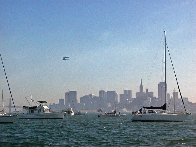 Two Blue Angels over San Francisco