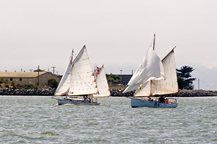 Two Sailboats Racing