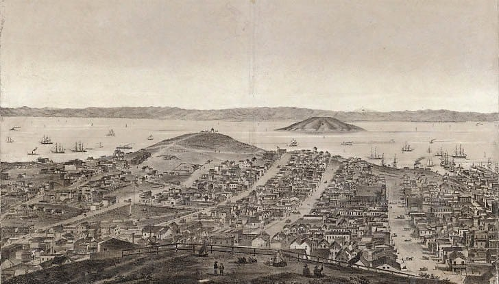 View East from Russia Hill to Yerba Buena Island