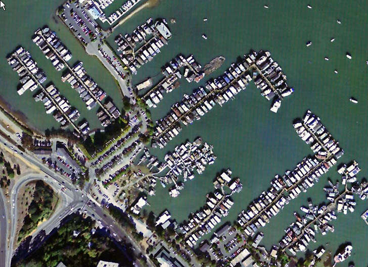 Waldo Point and Adjacent Houseboat Marinas Aerial